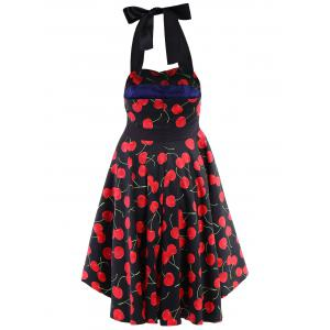 Vintage Halterneck Cherry Print A-Line Dress For Women -