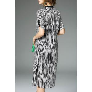 Half Sleeve Striped Midi Sheath Dress -