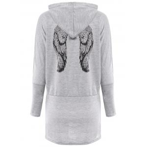 Casual Scoop Neck Long Sleeve Wing Print Hoodie For Women - GRAY ONE SIZE(FIT SIZE XS TO M)