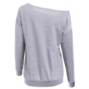 Casual Scoop Neck Long Sleeve Letter Printed Pullover Sweatshirt For Women -
