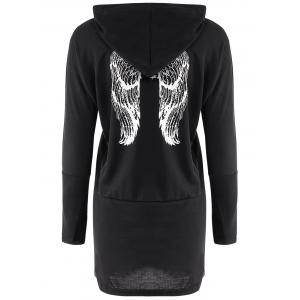 Casual Scoop Neck Long Sleeve Wing Print Hoodie For Women - BLACK ONE SIZE(FIT SIZE XS TO M)