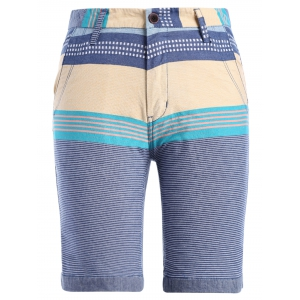 Zipper Fly Color Block Stripe Print Spliced Straight Leg Shorts For Men