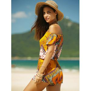 Convertible Short Sleeve Printed Women's Romper -