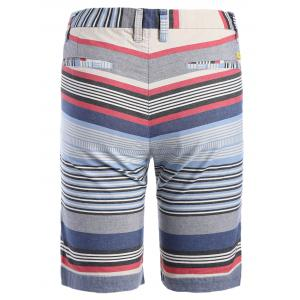 Zipper Fly Color Block Striped Print Spliced Straight Leg Shorts For Men -