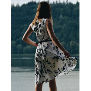 Fashionable Round Collar Sleeveless Floral Print Slimming Women's Dress - COLORMIX S