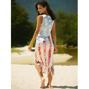 Vest American Flag Print Fringed Patriotic Midi Dress - COLORMIX XL