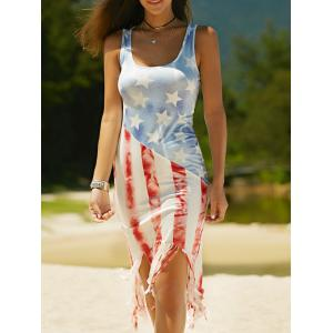 Vest American Flag Print Fringed Patriotic Midi Dress