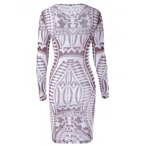 Fashionable Printing Long Sleeves Dress For Women - CHOCOLATE L