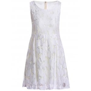 Jacquard Pleated Sleeveless Lace Dress