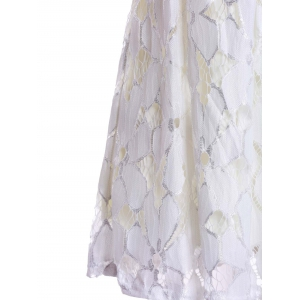 Jacquard Pleated Sleeveless Lace Dress - WHITE S