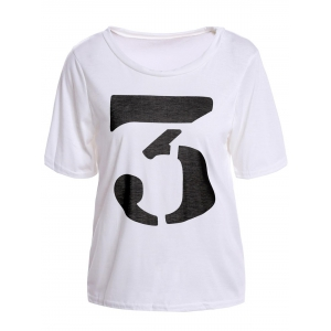 Color Block Retro Style Scoop Neck Figure Print Short Sleeve Women's T-Shirt