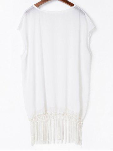 Best Tassels Beach Poncho Cover Up - ONE SIZE(FIT SIZE XS TO M) WHITE Mobile