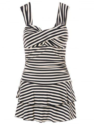 Shop Trendy Sweetheart Neckline Striped One-Piece Swimsuit For Women