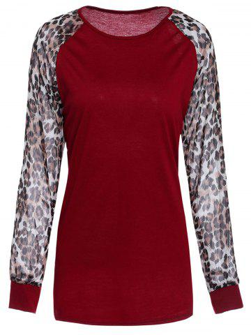 Trendy Chic Round Neck Leopard Splicing Long Sleeve T-Shirt For Women
