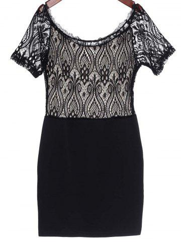 Lace Panel Mini Club Dress - Black - M