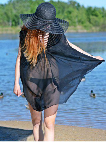 Latest Asymmetric See Thru Swing Tunic Cover Up - XL BLACK Mobile