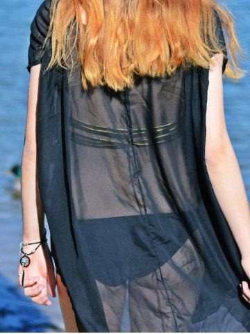 New Asymmetric See Thru Swing Tunic Cover Up - XL BLACK Mobile