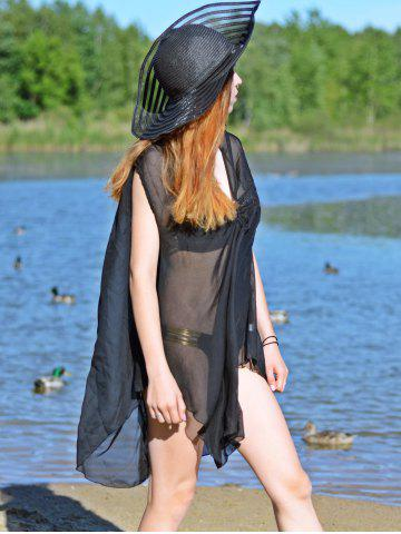 Outfits Asymmetric See Thru Swing Tunic Cover Up - XL BLACK Mobile