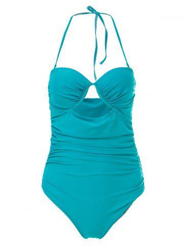 Cheap Charming Halter Sleeveless Hollow Out Solid Color Women's Swimwear GREEN M