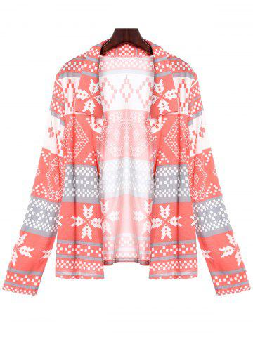 Stylish Turn-Down Collar Long Sleeve Printed Pocket Design Women's Cardigan - PINK S