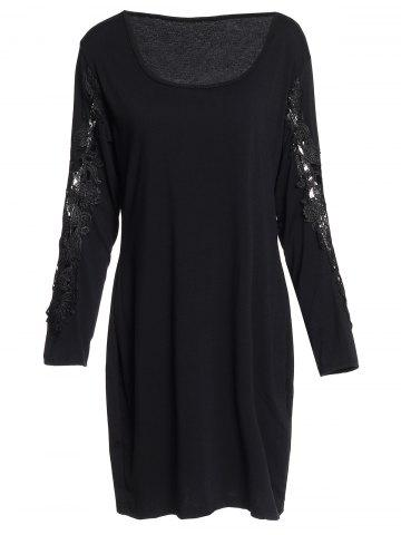 Sexy Scoop Neck Long Sleeve Hollow Out Plus Size Women's Dress - Black - 2xl