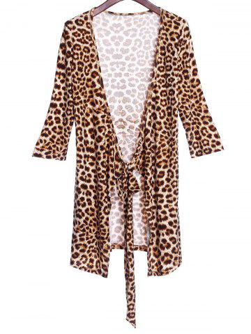 Online Sexy Plunging Neck 3/4 Sleeve Leopard Print Women's Club Dress