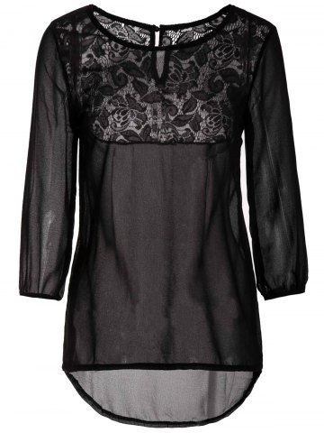 Small BLACK Back Lace Spliced Scoop Neck 3 4 Bell Sleeve Chiffon Blouse