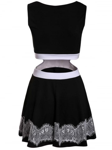 Affordable Sweet Sleeveless Waist Hollow Out Lace Spliced Mini Dress For Women