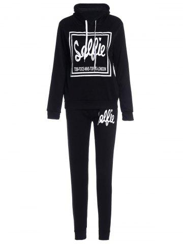 Outfits Stylish Hooded Letter Printed Hoodie and Elastic Waist Pants Twinset For Women