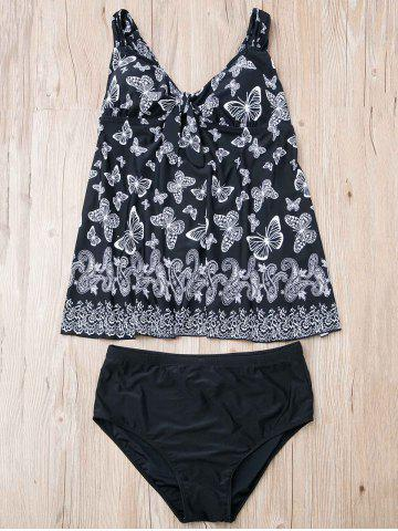 Store Stylish Butterfly Print Plus Size Two-Piece Swimsuit For Women BLACK 8XL