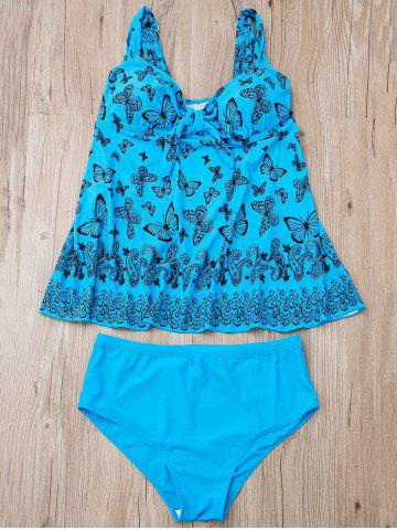 Latest Stylish Butterfly Print Plus Size Two-Piece Swimsuit For Women