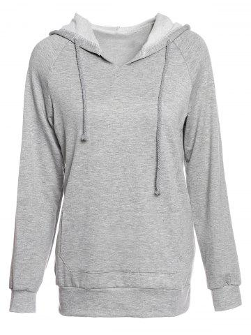 Shop Trendy Hooded Long Sleeve Solid Color Pocket Design Women's Hoodie GRAY M