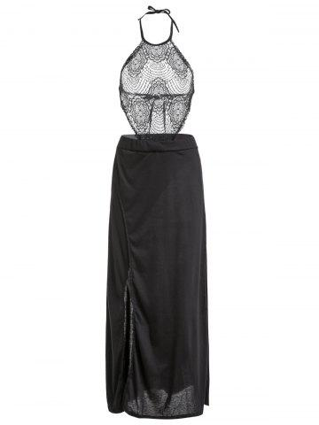Halter Hollow Out Lace Spliced Slit Night Out Dress - Black - L