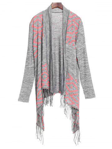 Stylish Collarless Long Sleeve Fringed Asymmetrical Women's Cardigan - Gray - L