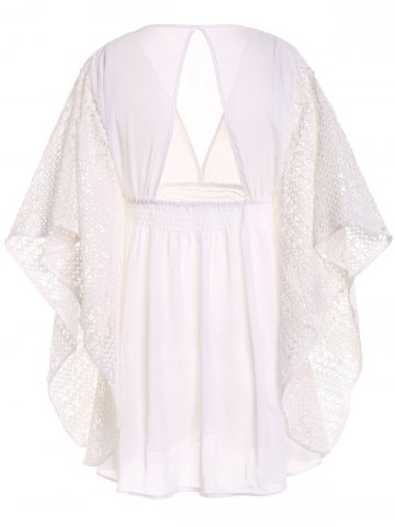 Store Plunge Batwing Flowy Tunic Beach Cover Up - ONE SIZE(FIT SIZE XS TO M) WHITE Mobile