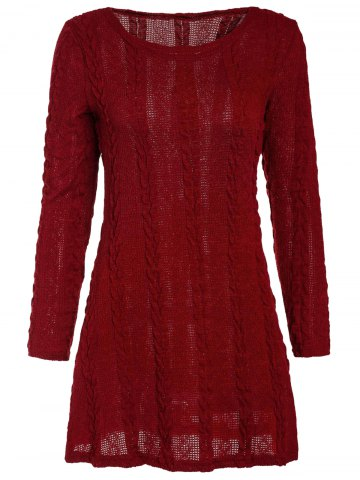 Small WINE RED Scoop Neck A Line Long Sleeve Dress For Women
