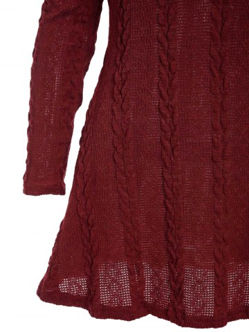 Outfit Scoop Neck A-Line Long Sleeve Dress - M WINE RED Mobile
