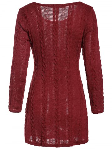 Fashion Scoop Neck A-Line Long Sleeve Dress - M WINE RED Mobile
