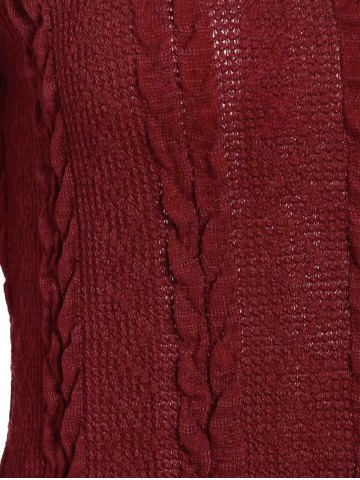 Shops Scoop Neck A-Line Long Sleeve Dress - M WINE RED Mobile