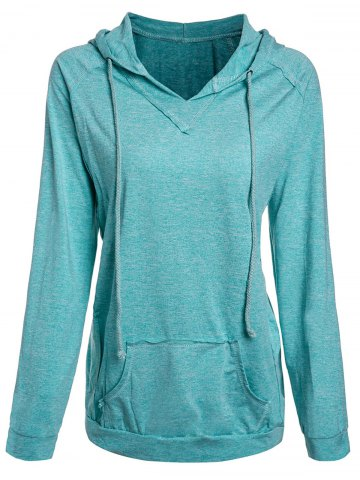 Small MINT GREEN Hooded Candy Color Pocket Spliced Pullover Hoodie