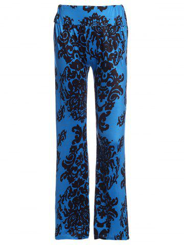 Fancy Elastic Waist Damask Printed Wide Leg Palazzo Pants BLUE AND BLACK L