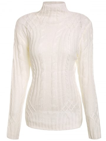 Medium WHITE Turtleneck Twist Wave Solid Color Thick Pullover Sweater