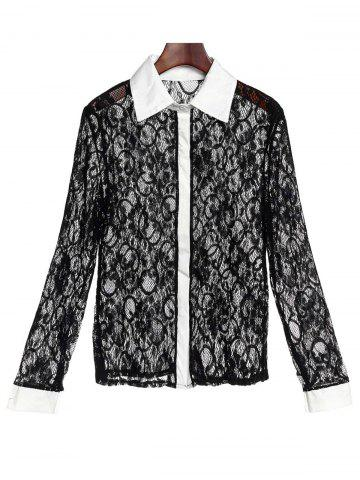 Buy Stylish Turn-Down Collar Long Sleeve Color Block Slimming Lace Women's Blouse BLACK S