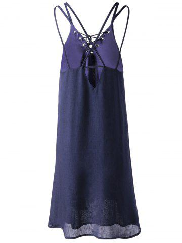 Fashion Lace Up Strappy Slip Summer Dress - S PURPLISH BLUE Mobile