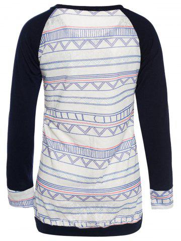 Cheap Stylish Round Neck Long Sleeve Printed Pocket Design Women's T-Shirt - S BLUE Mobile
