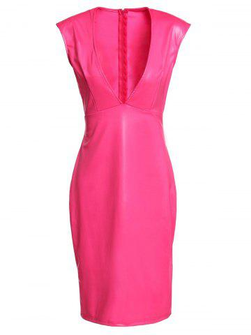 Discount Sexy Plunging Neck Sleeveless Pure Color Slimming Women's Dress