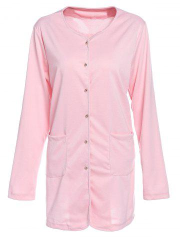 Outfit Refreshing Candy Color Single-Breasted Straight Trench Coat For Women PINK XL