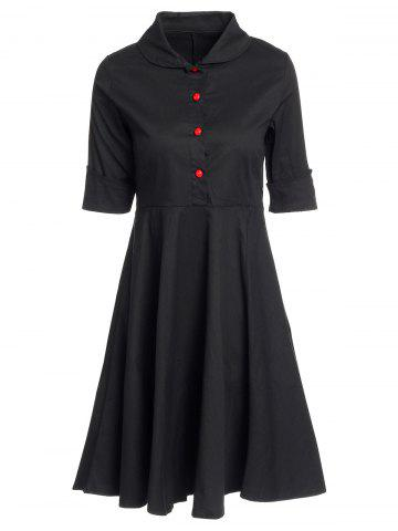 Shop Vintage Turn-Down Collar Buttoned Short Sleeve Ball Dress For Women BLACK M