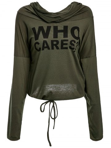 Large ARMY GREEN Letter Printed Ruched Hooded Long Sleeve Pullover Hoodie