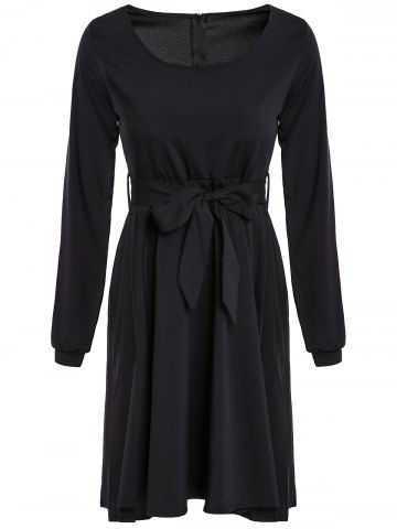 Graceful Scoop Neck Long Sleeve Black Self Tie Belt Women's Dress - Black - Xl